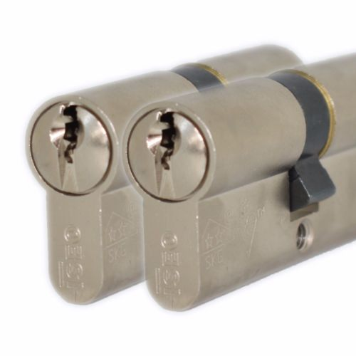 ISEO 1 Star High Security Keyed A Like 35 35 70mm Overall Nickel Euro Door Lock -  - UPVCSTORE - UPVCSTORE