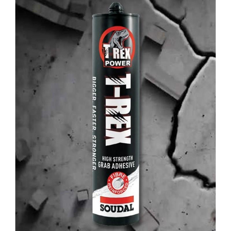 SOUDAL SOLVENT FREE T-REX PACK OF 4 ADHESIVE SEALANT HIGH STRENGTH FIBRE 310ML -  - Soudal - UPVCSTORE