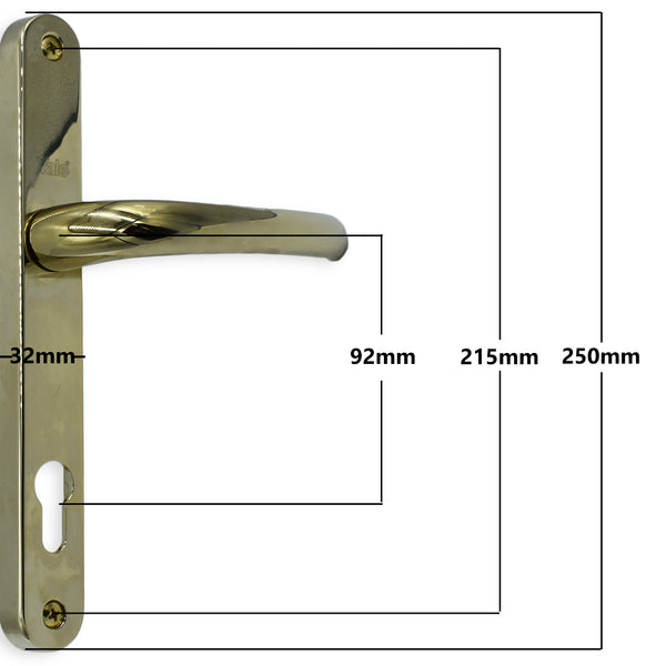 Yale Mila Match Lever Pad Offset Door Handle 92 and 70mm PZ 215mm Screw Fix -  - Yale - UPVCSTORE