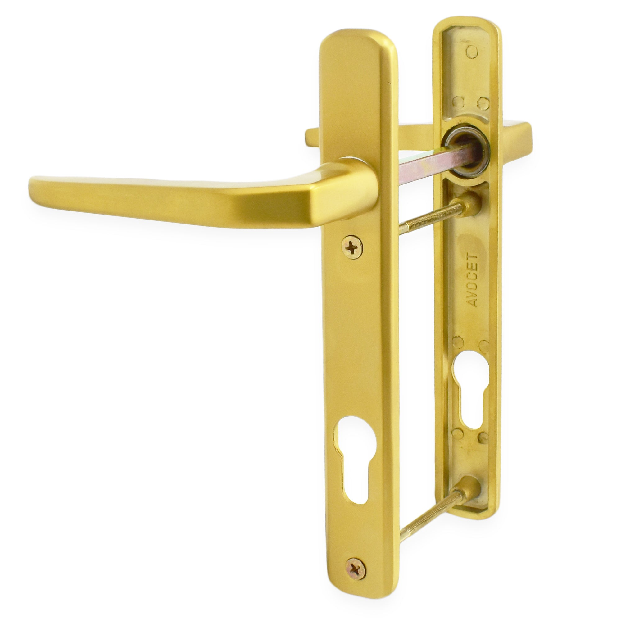 Avocet/WMS Gold Short Backplate Handles 92mm centre handle 122mm screw centres -  - Avocet - UPVCSTORE