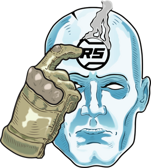 A PVC vinyl sticker of the comic book character Dr. Manhattan with the Rail Scales logo.