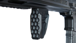 A carbon black Anchor forend grip is mounted to the bottom of an AR-15 M-LOK handguard.