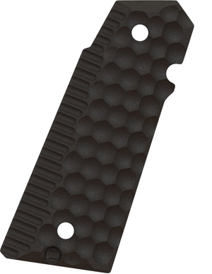 The right side Ascend grip panel for a 1911 style pistol with honeycomb texture.