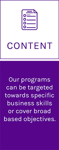 Invest In Talent: Content, Our programs can be targeted towards specific business skills or cover broad based objectives.