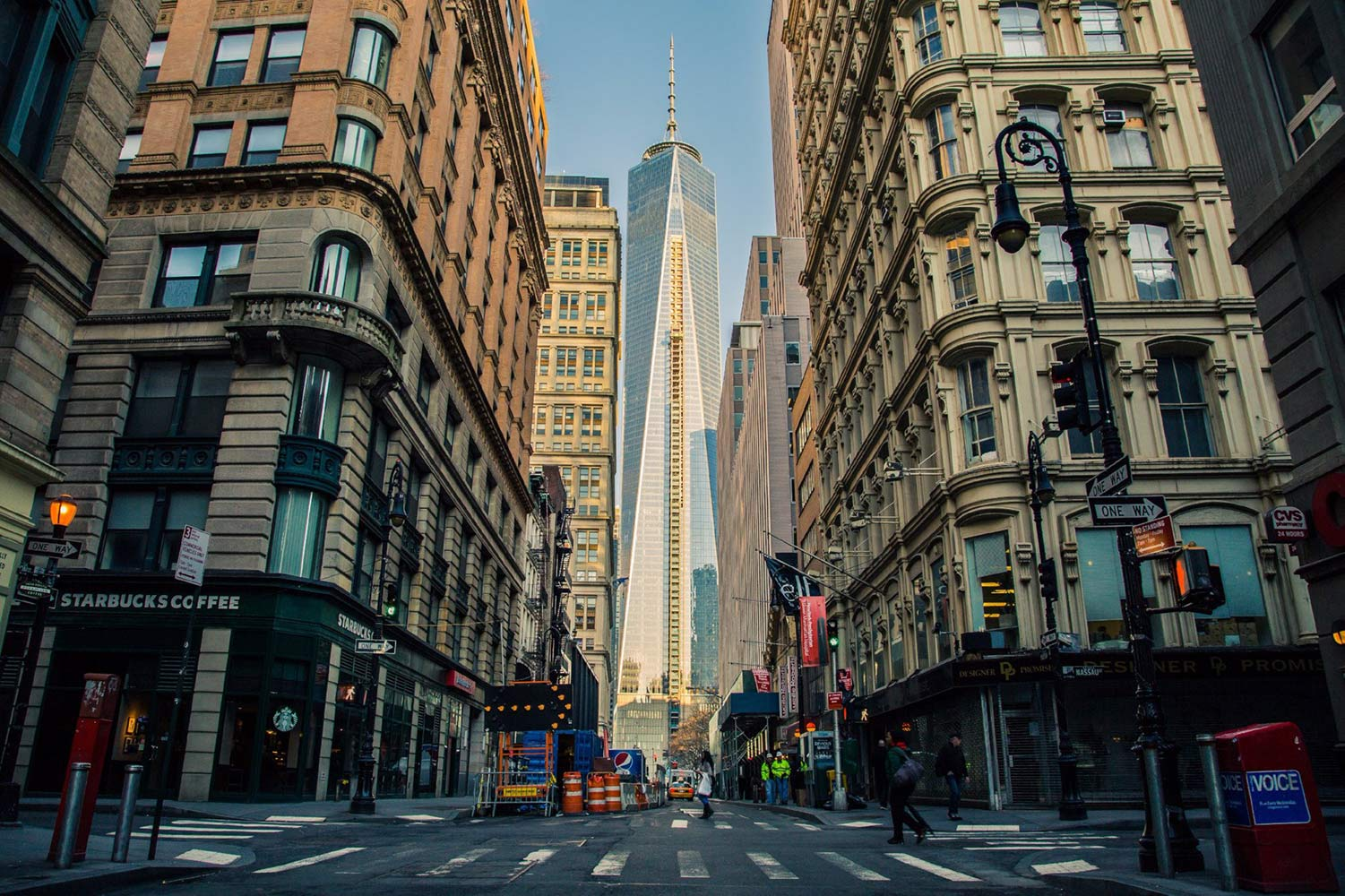 NYC street with Freedom Tower