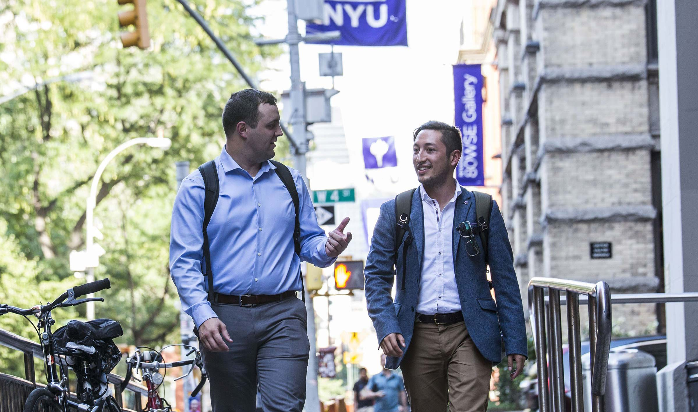 NYU Stern students walking on campus