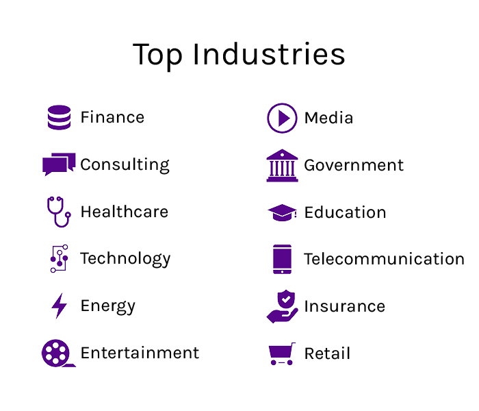 Top Industries: Finance, Consulting, Healthcare, Technology, Energy, Entertainment, Media, Government, Education, Telecommunication, Insurance, Retail