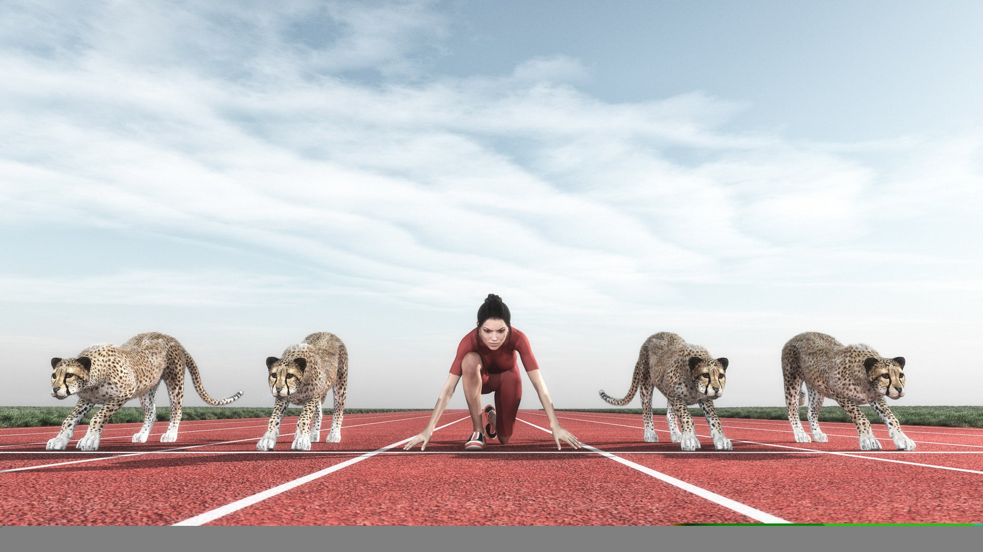 woman with cheetahs on track