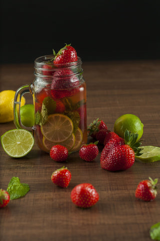 Ball jar with fruit
