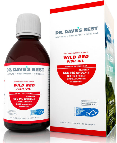 Dr. Dave's Best wild red fish oil bottle-front box image