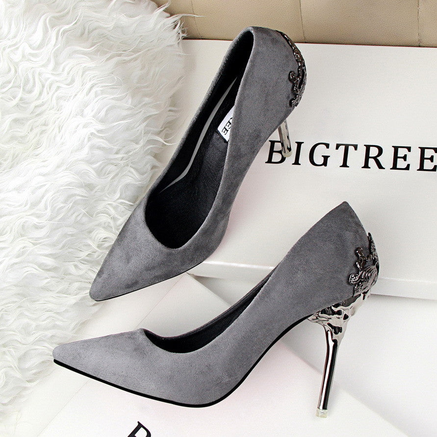 spring summer women high heels shoes pointed toe matel heels pumps