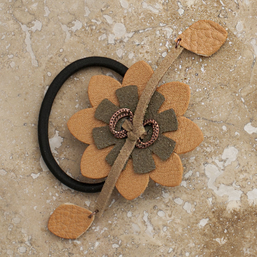 Carmel Flower Hair Tie