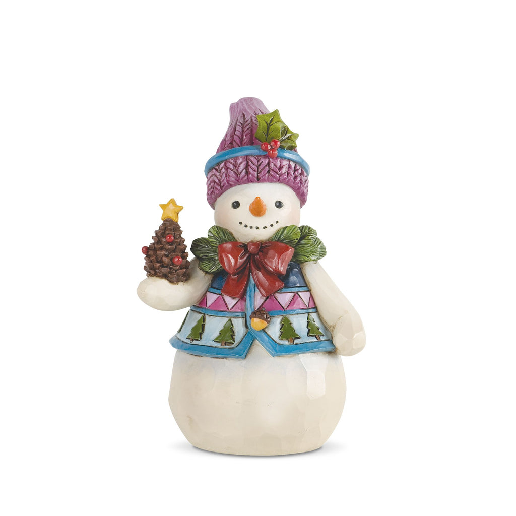 Pint Sized Snowman w/Pinecone