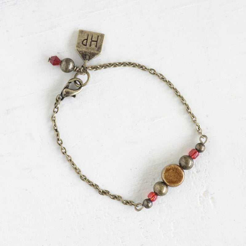 Brown Ceramic Bead Bracelet