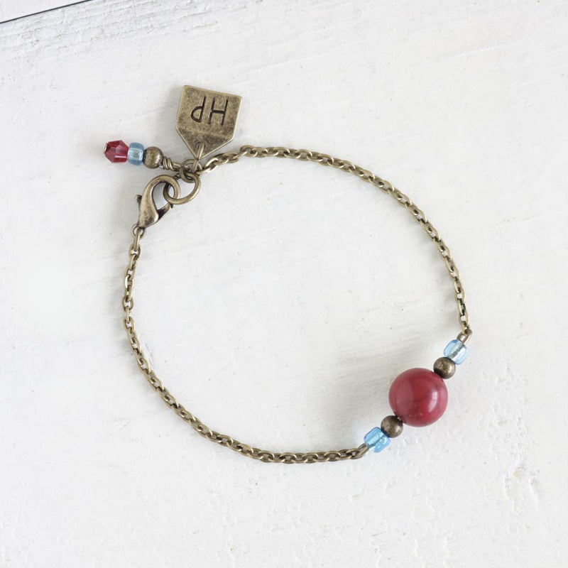 Red Ceramic Bead Bracelet