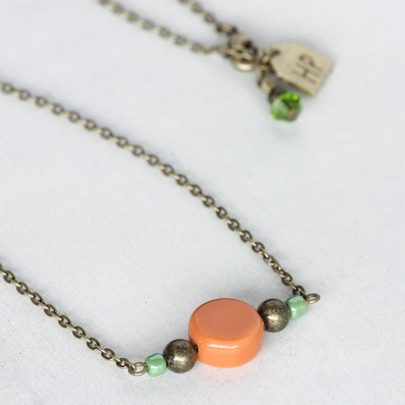 Orange Ceramic Bead Necklace