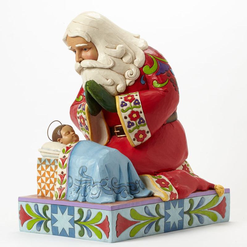 Santa with Baby Jesus Statue
