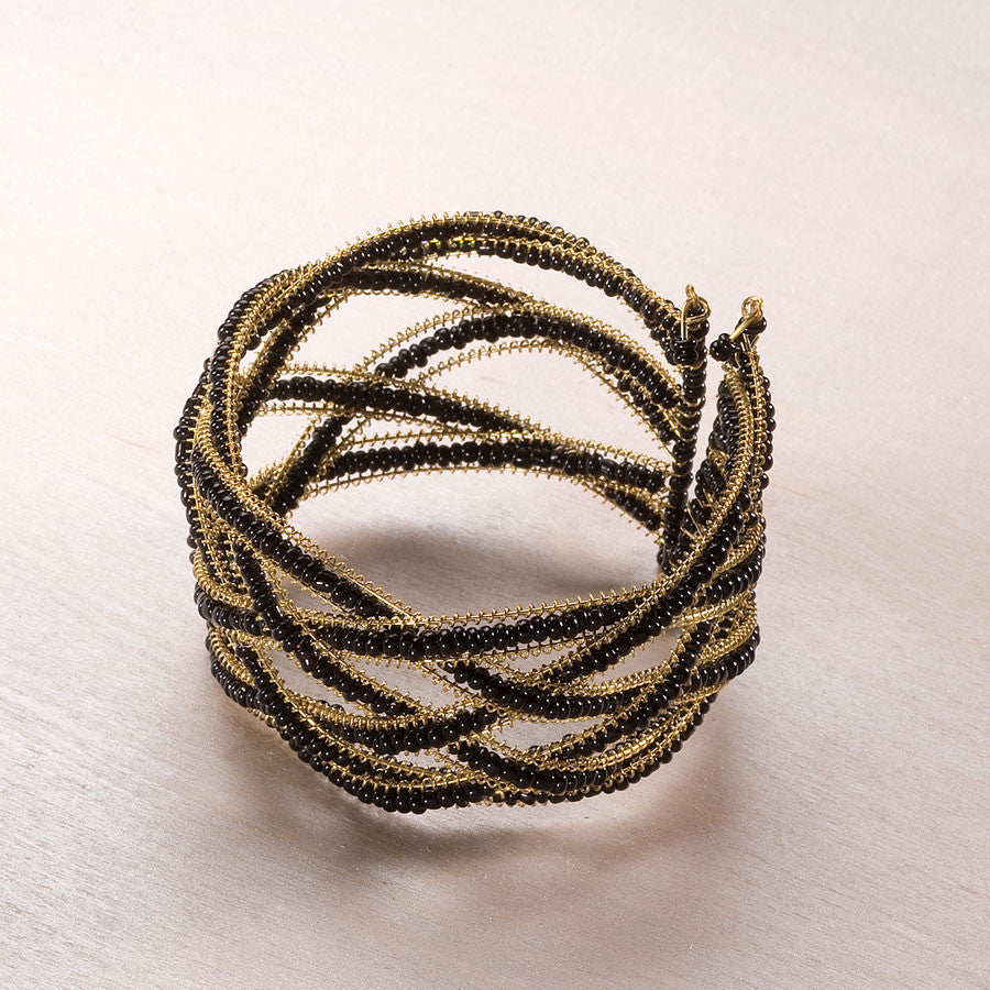 Black Gold Bead Cuff