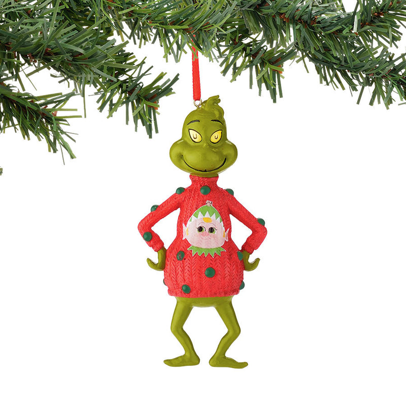 Grinch in Elf Sweater Ornament