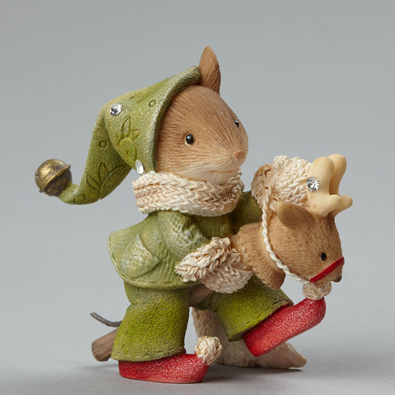 Mouse on Toy Reindeer