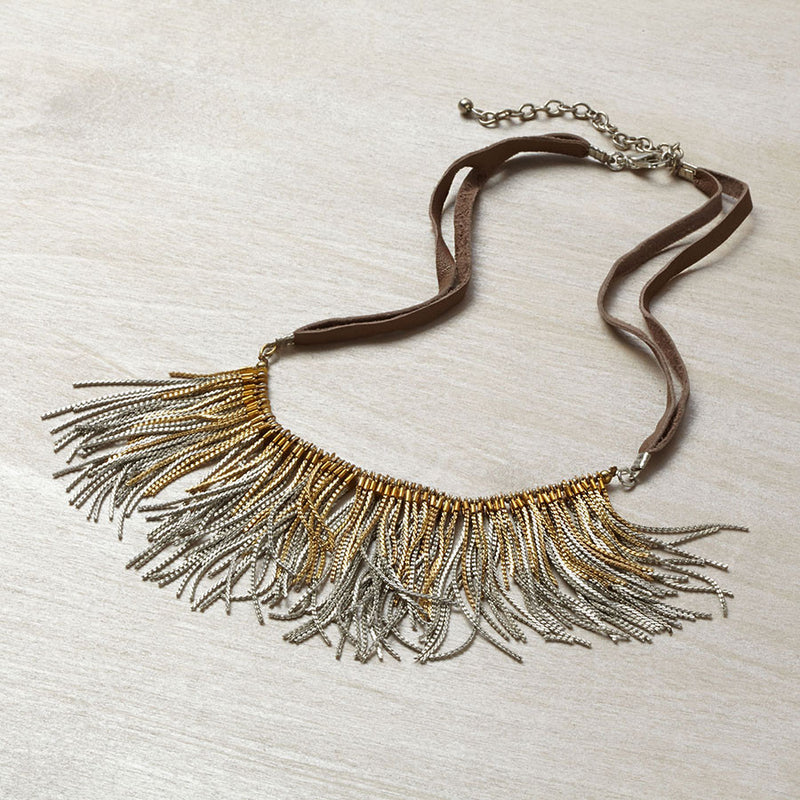 Suede with Chain Necklace