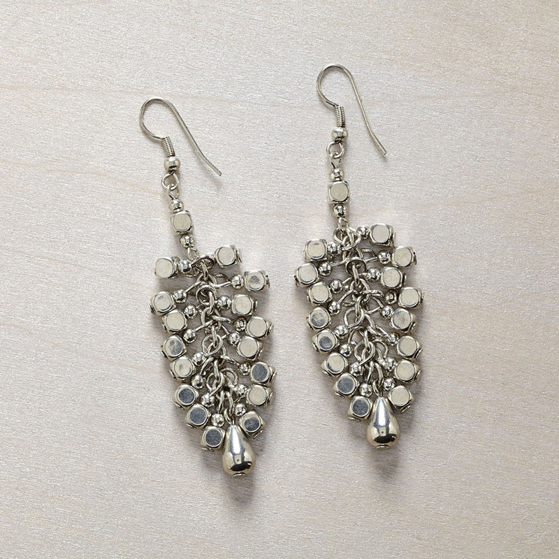 Silver Bead Cluster Earring