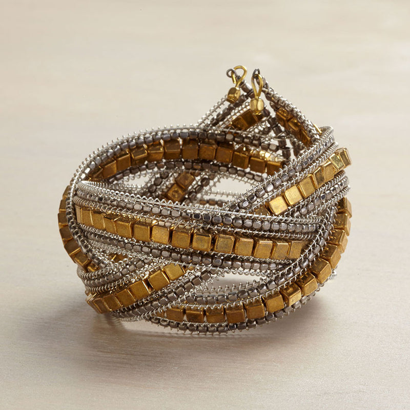 Gold Bead Wrap Bracelet