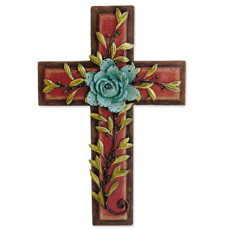 Teal Rose Wall Cross