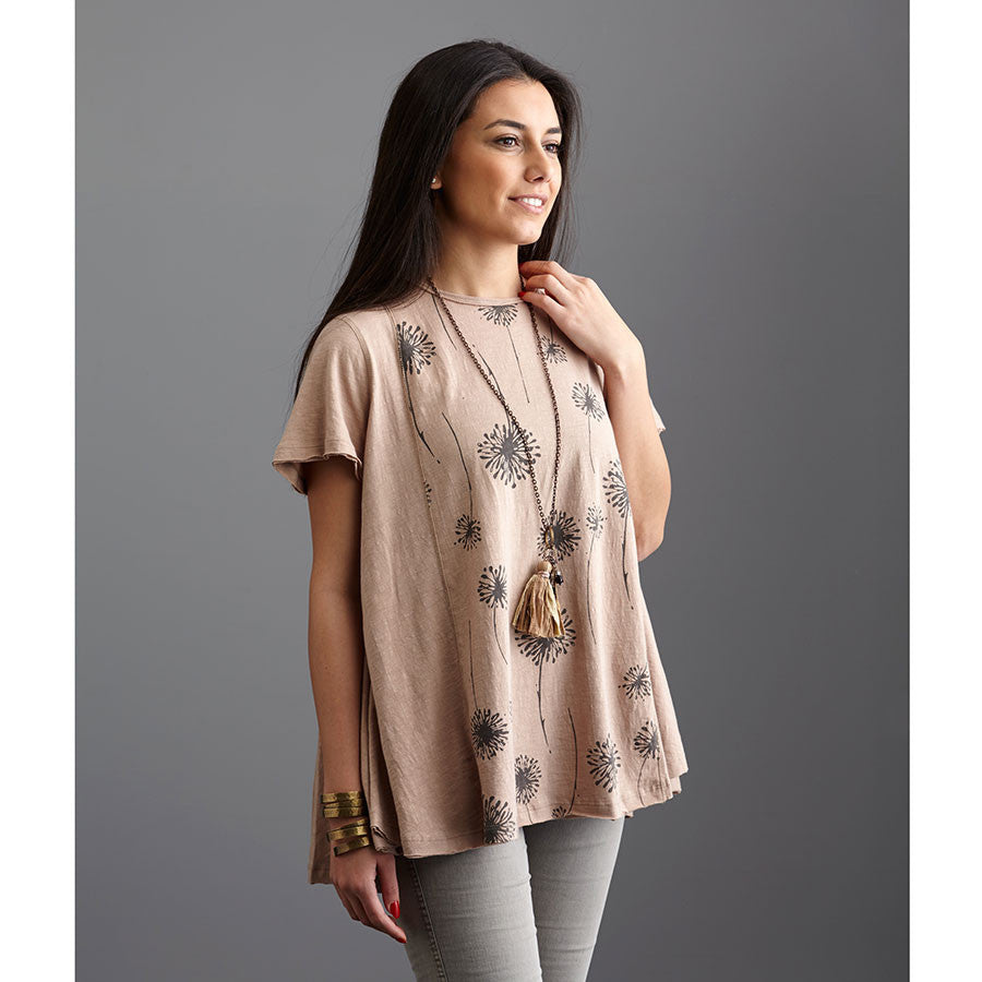 Vintage Print Knit Top Taupe