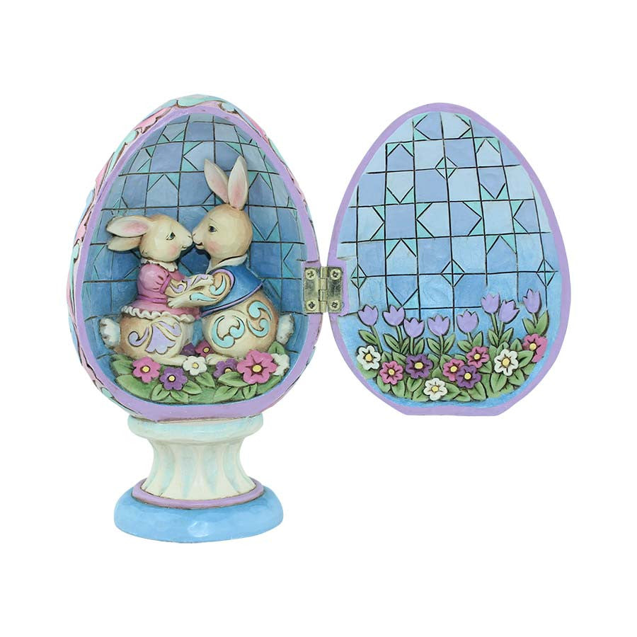 Hinged Egg with Bunnies Inside