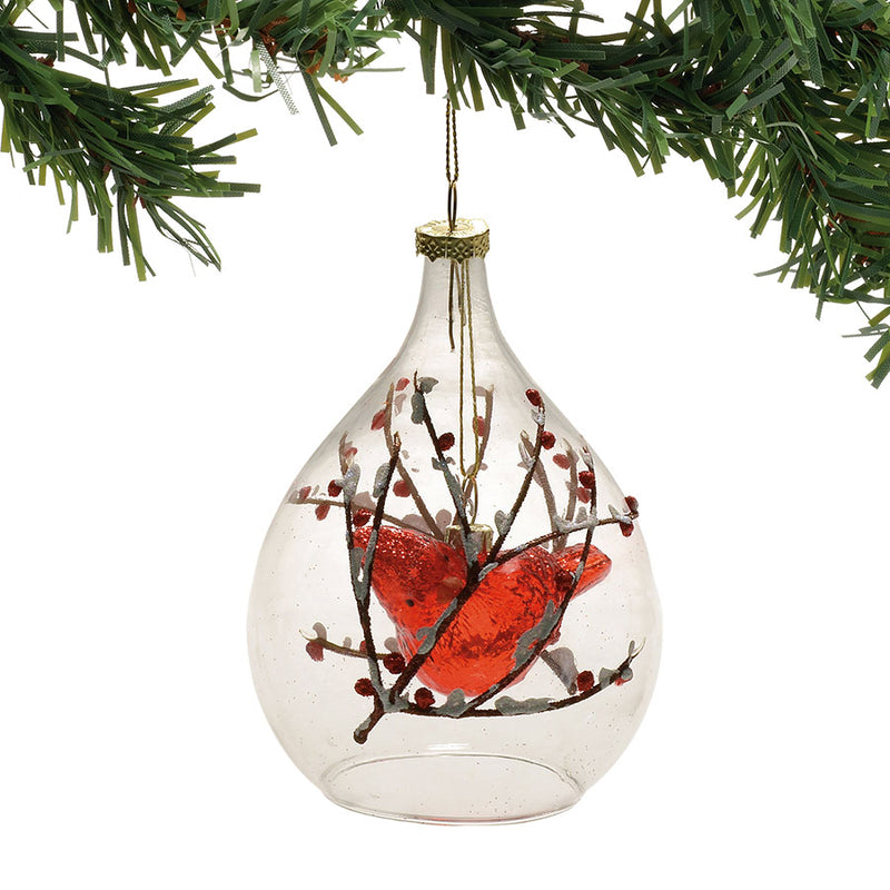 CARDINAL IN TEARDROP ORNAMENT