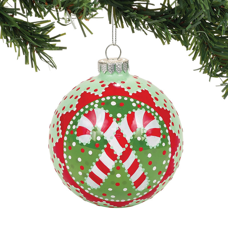 Candy Cane Ball Ornament