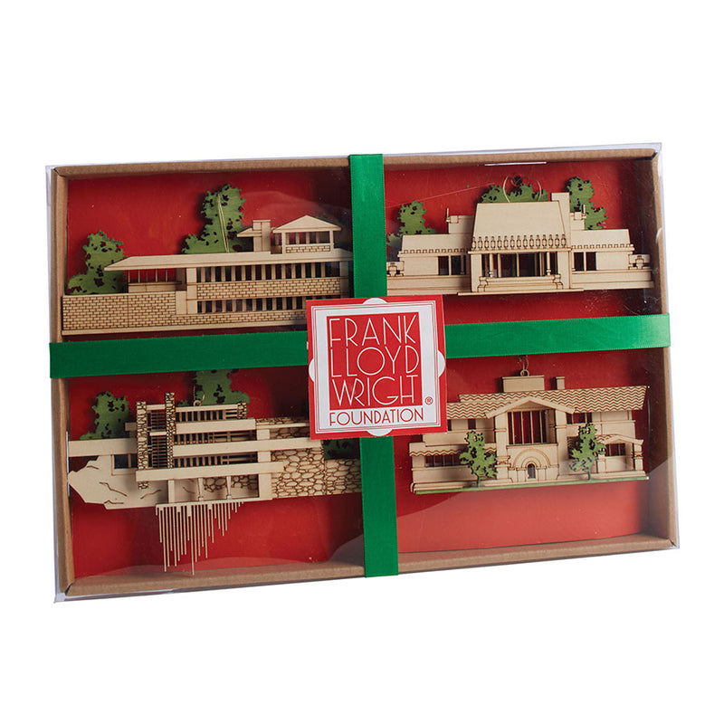 FLLW House Ornaments Set of 4