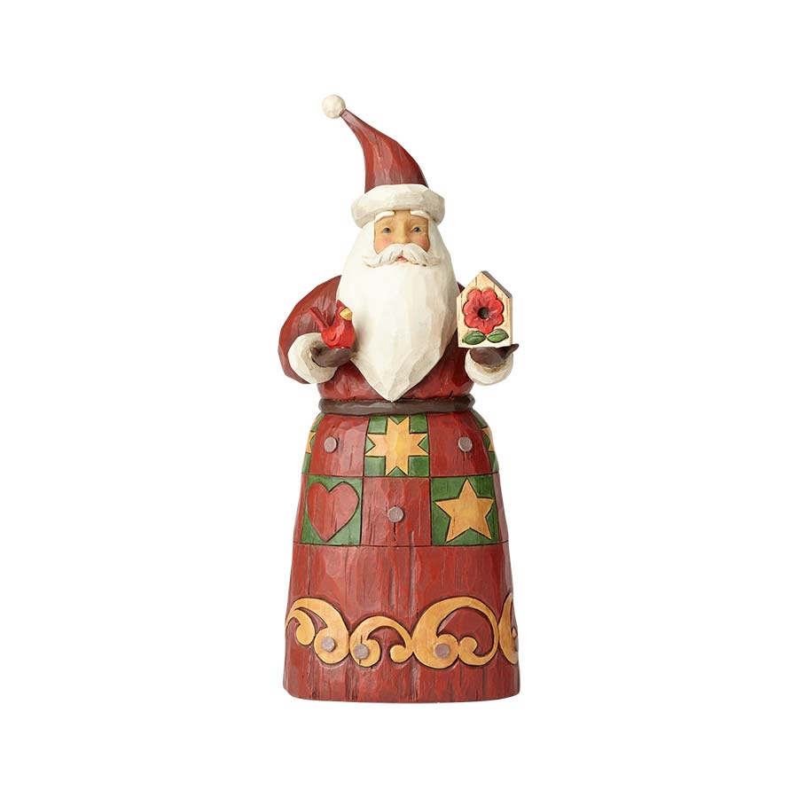 Folklore Santa w/Red Bird