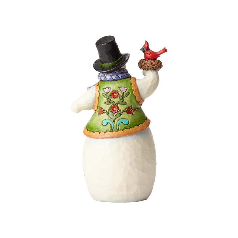 Snowman with Cardinal in Nest
