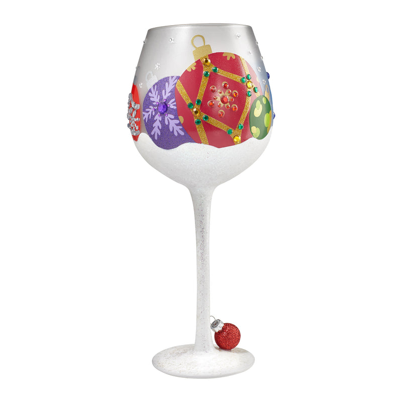 Wine Glass Bling Snow Ornament