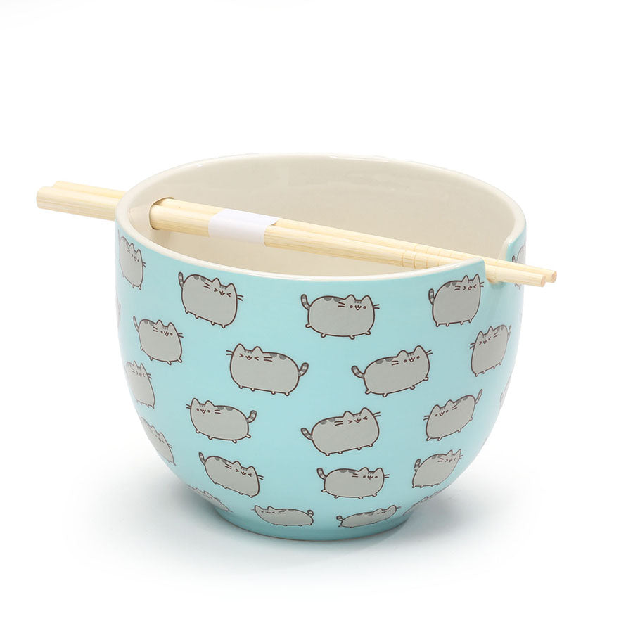 PUSHEEN RICE BOWL W CHOPSTICKS
