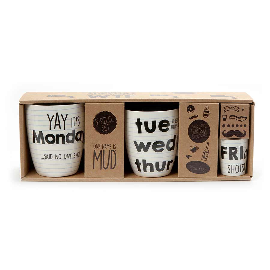 DAYS OF WEEK TRIPLE MUG SET