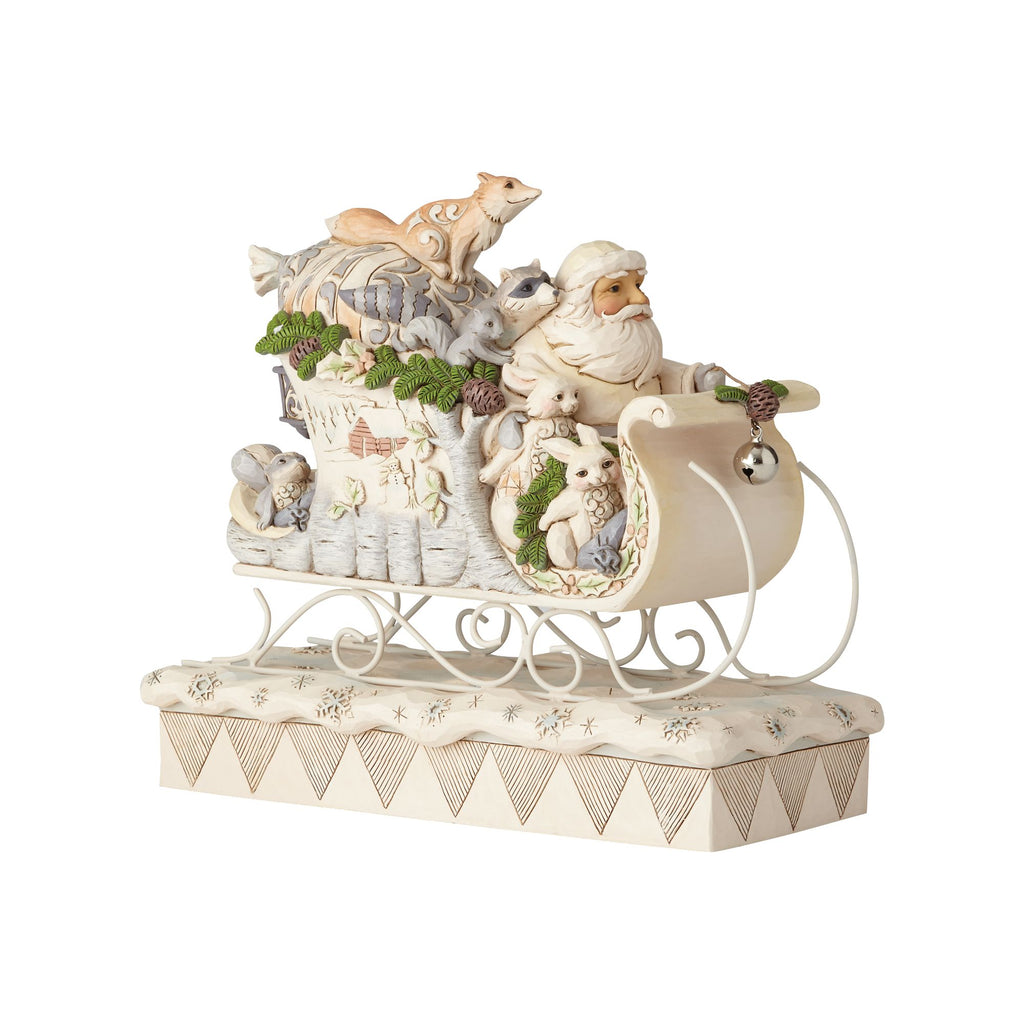 White Woodland Santa in Sleigh