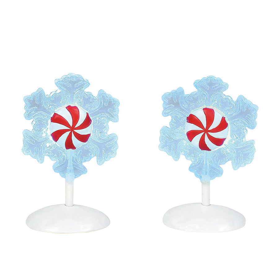 Lit Peppermint Snowflakes