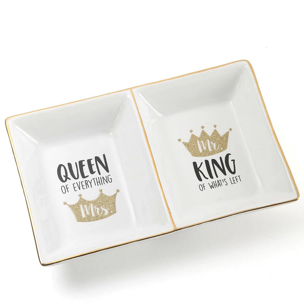 Gold Glitter Crown Double Tray