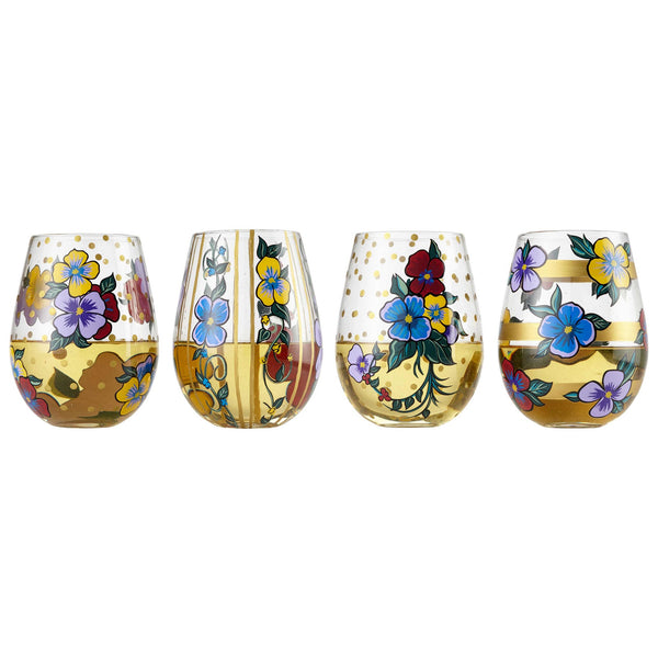 Stemless 4 pc Set Pansies