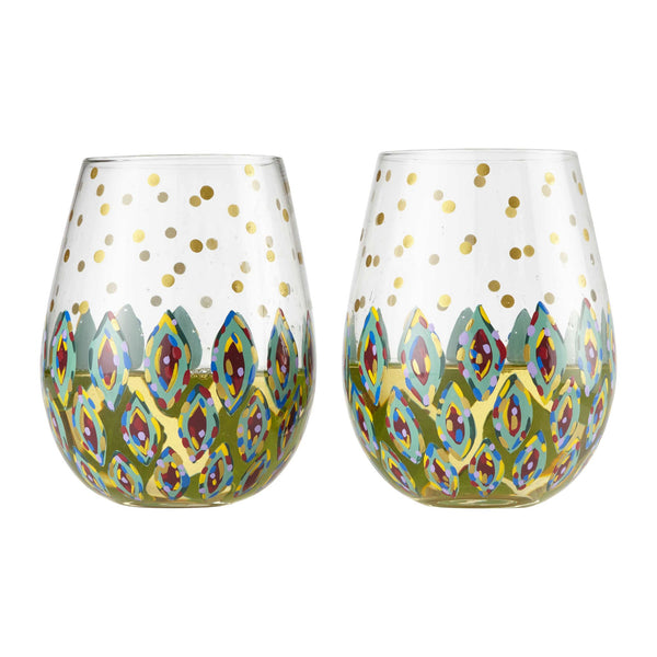 Stemless 2 pc Set Floral