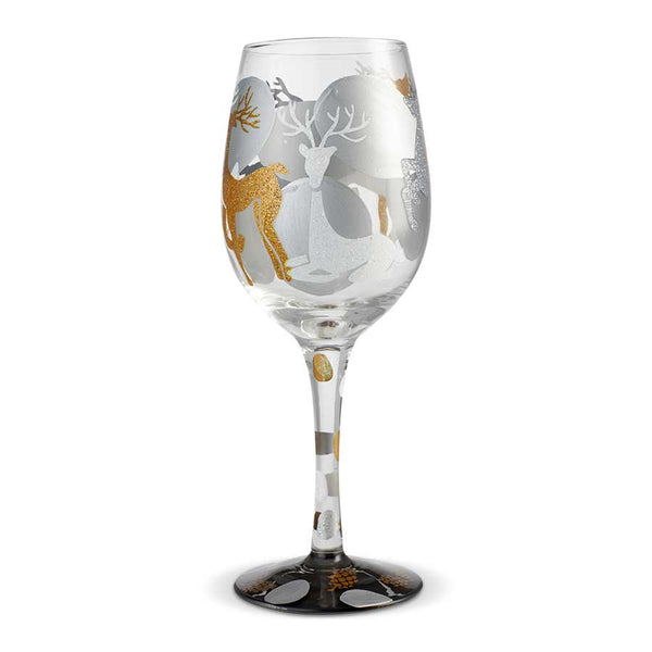Wine Glass Visions of Reindeer