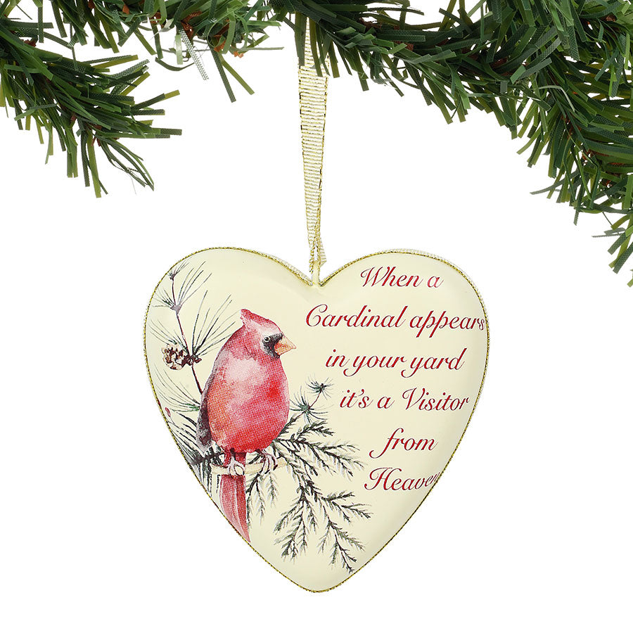 Furry Orn cardinal remembrance heart orn