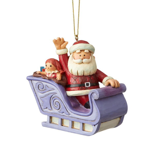 Santa In Sleigh Ornament