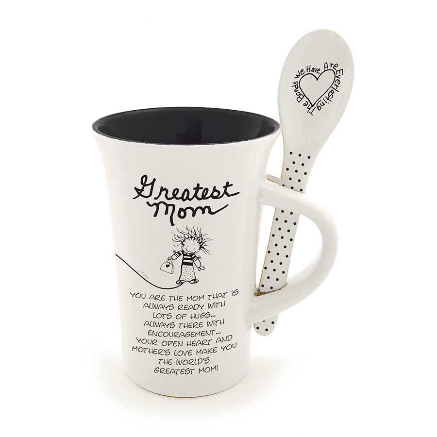 Greatest Mom mug and spoon set