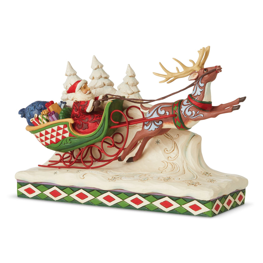Santa on Sleigh with Reindeer