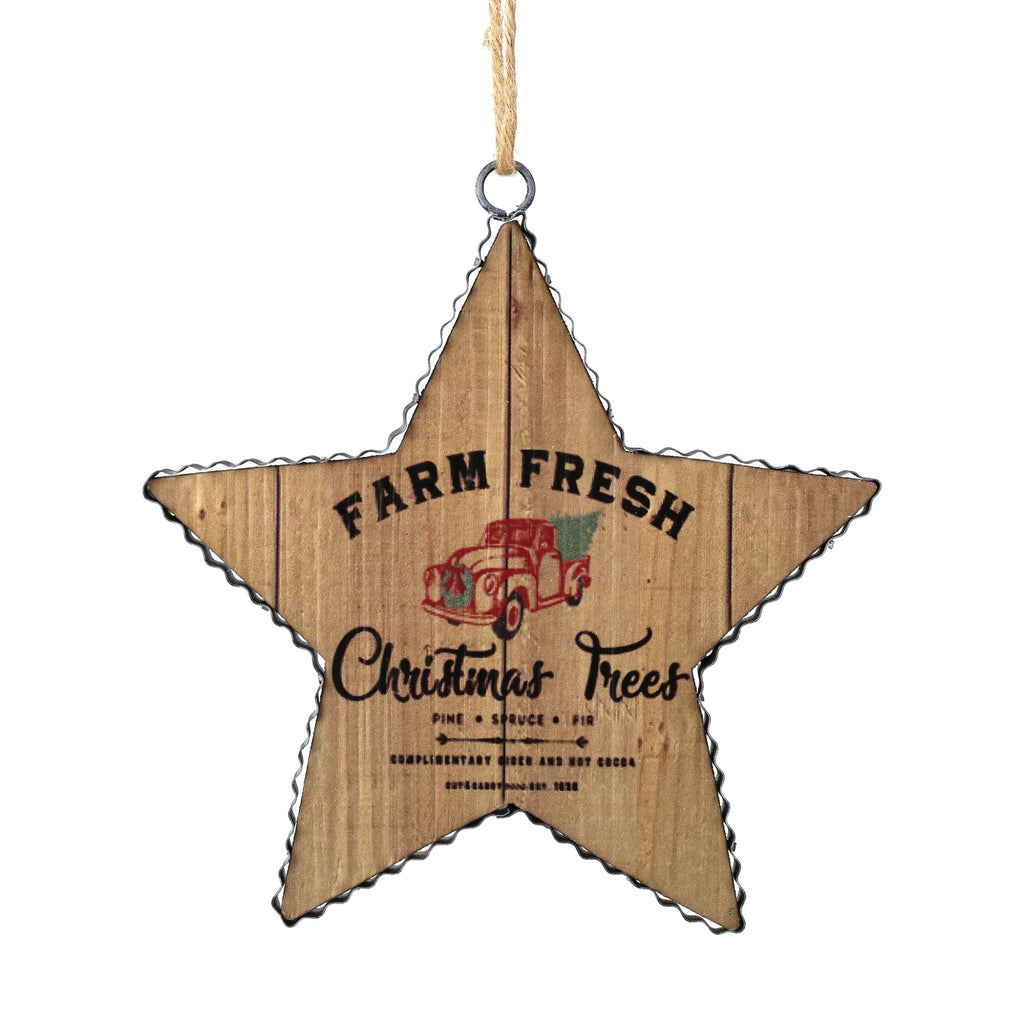 Farm Fresh Wood Star Orn