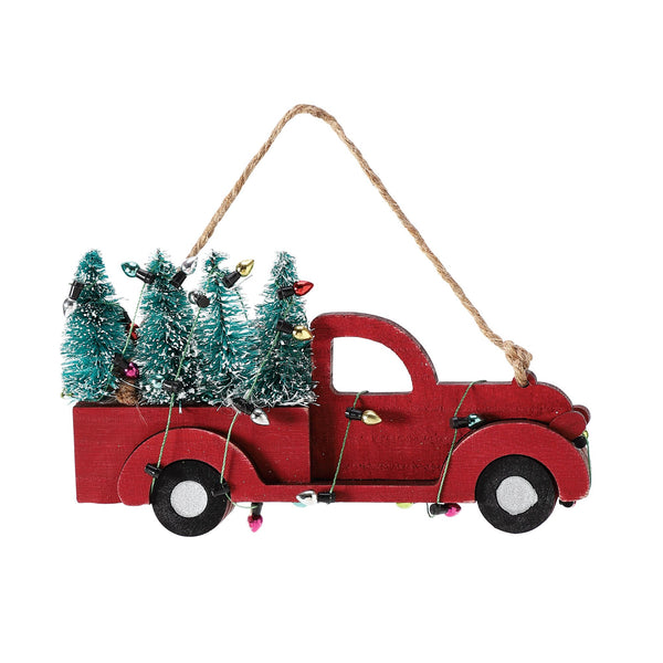 Red Truck with Trees Ornament
